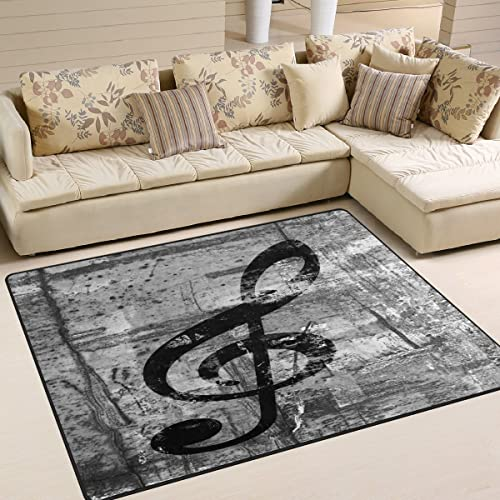 ALAZA Black Music Note Vintage Area Rug Rug
