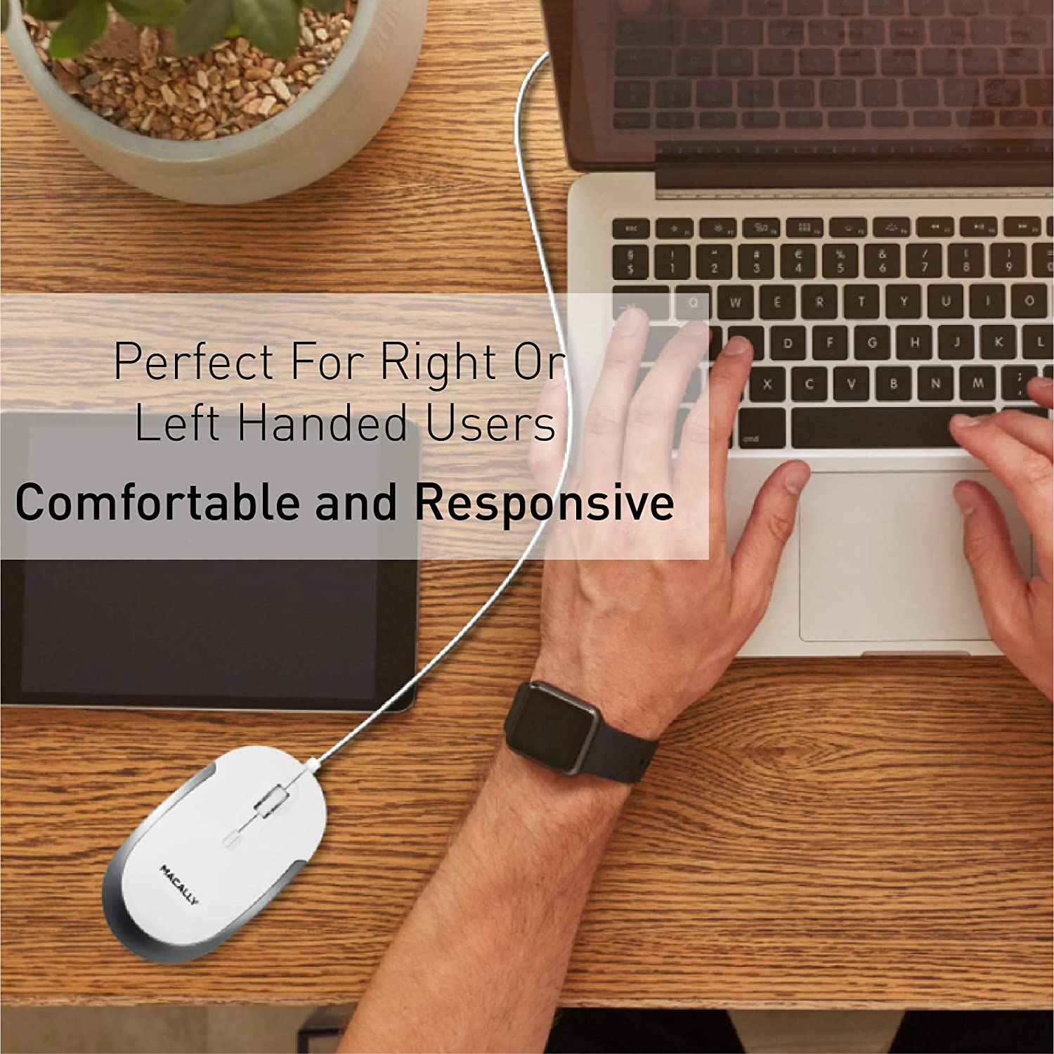 White Slim /& Compact USB Mouse for Apple Mac or Windows PC Laptop//Desktop Designed with Optical Sensor /& DPI Switch Simple /& Comfortable Wired Computer Mouse Macally Silent Wired Mouse
