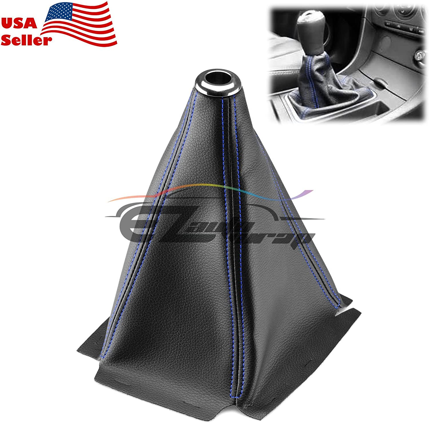 EZAUTOWRAP Universal Shift Knob Shifter Boot Cover Carbon Fiber Style Black with Blue Stitches PVC Leather MT at Sport PVC Leather