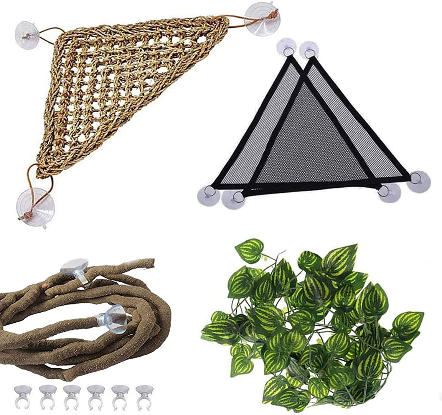 PINVNBY Bearded Dragon Tank Accessories,Reptile Habitat Hammock,Lizard Lounger Climbing Decor,Natural Seagrass Fibers Jungle Bendable Vines Leaves for Chameleon Hermit Crabs Gecko or Snakes(4Pcs)