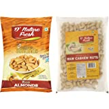 D'Nature Fresh Premium Quality Raw Cashews(250 gm) & Almond(250 gm) Offer for Mix Dry Fruits, Kaju Badam Combo, Cashew Almond Combo