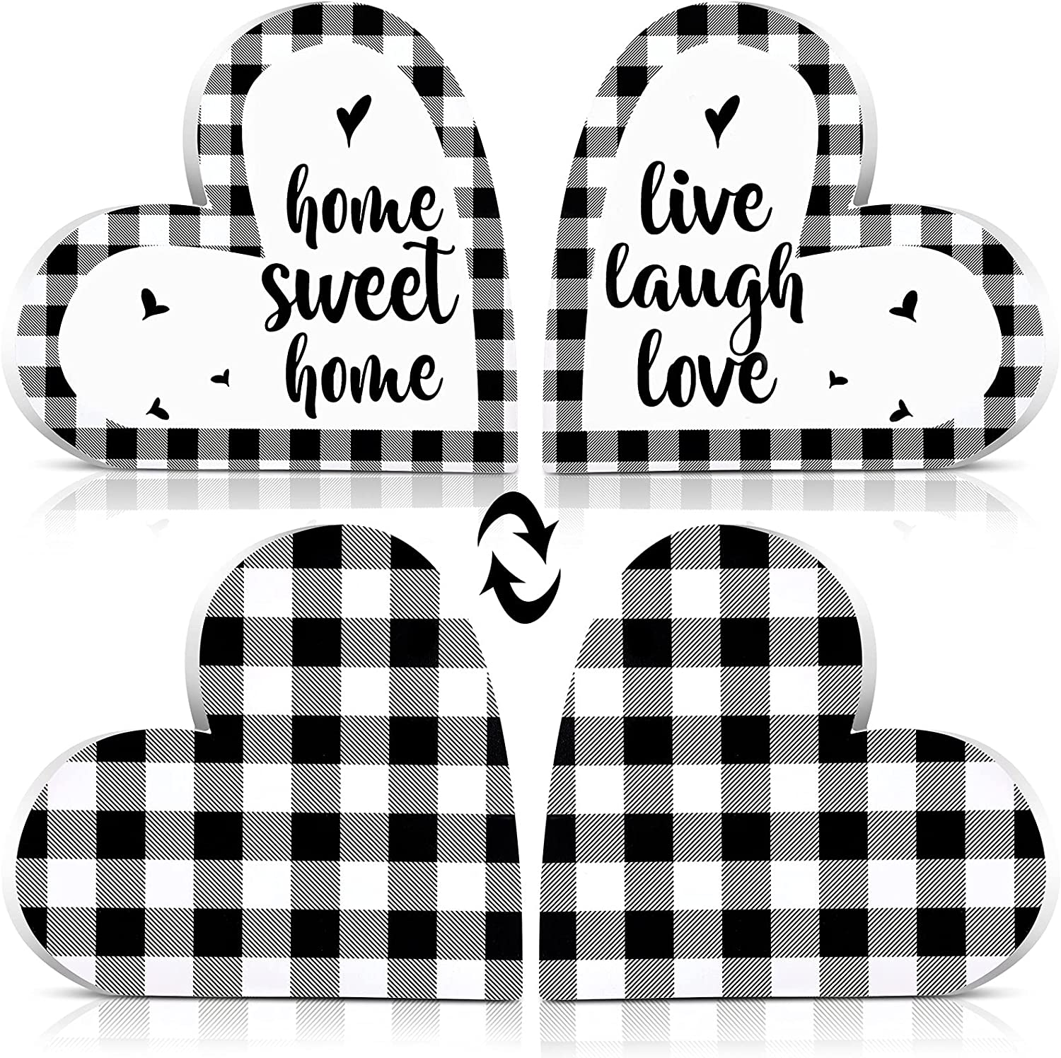 Jetec 2 Pieces Heart-Shaped Wooden Sign Double-Sided Home Sweet Home Sign Live Laugh Love Sign Farmhouse Buffalo Plaid Decor for Holiday Home Table Coffee Bar Room Shelf Decor