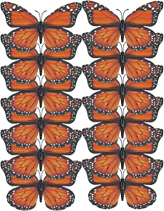 LEEUEE 12 Pcs Monarch Butterfly Decorations 4.72'',Orange Premium Artificial Monarch Butterfly to Decorate for Craft,Home,Wall,Party,Wedding