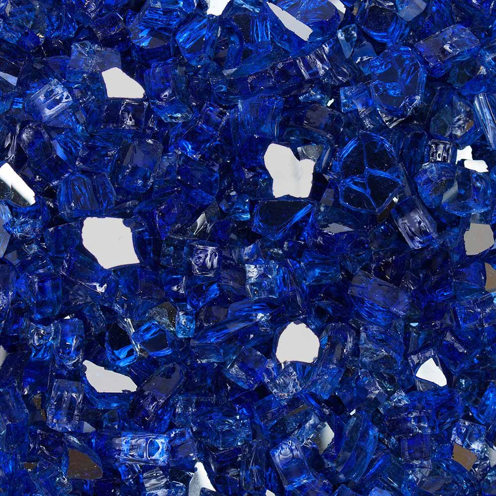 Celestial Fire Glass High Luster, 1/2'' Reflective Tempered Fire Glass in Meridian Blue | 10 Pound Jar