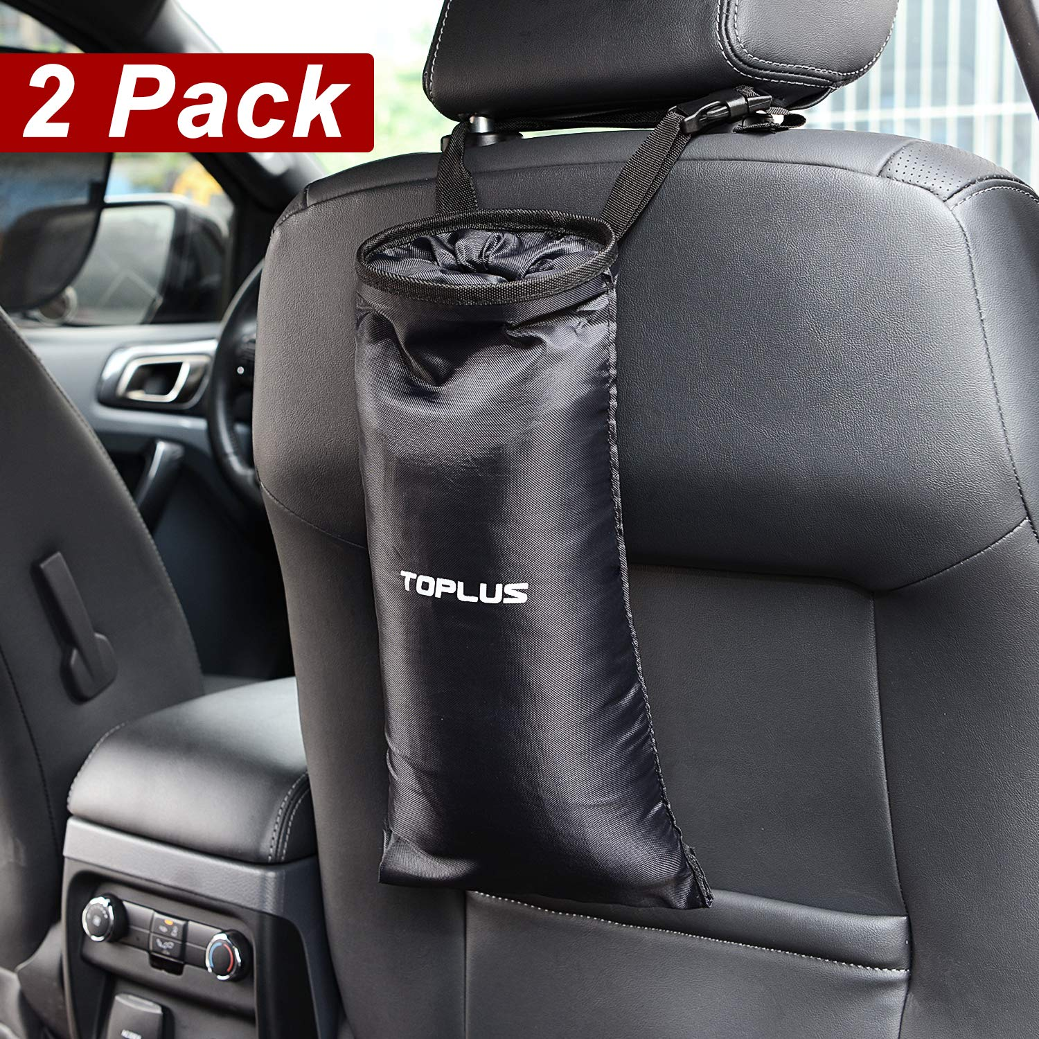 Toplus 2 PACK Car Trash Bags Home and Vehicle Use Outdoor Space Saving Car Garbage Can Container Washable Leakproof Eco-friendly Seatback Truck Hanging bags for Travelling