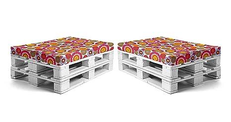 SUENOSZZZ - Pack 2 colchonetas para Sofas de Palet. Cojin Relleno con Espuma. Loneta HP Mandala Blanco | Cojines para Chill out, Interior y Exterior, ...