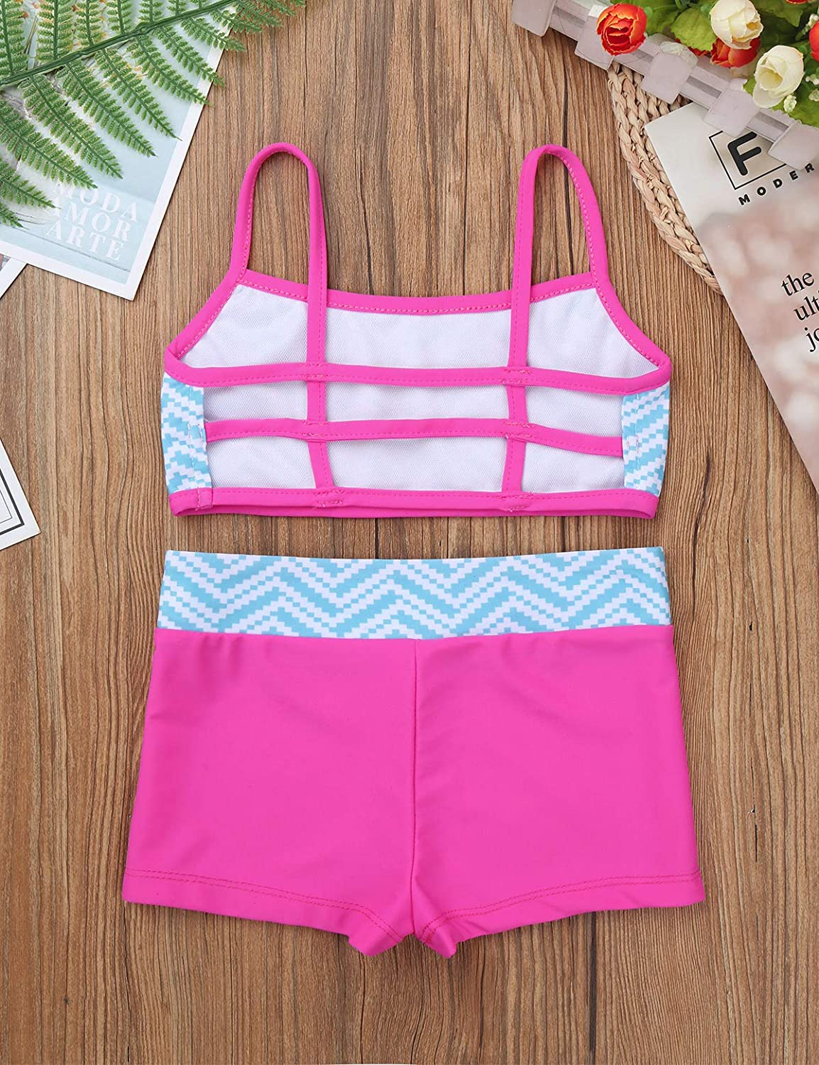 TiaoBug Kid Girls Two-Piece Strap Crop Top Bra with Boyshorts Athletic Clothing Sets Gymnastic Sport Dancing Activewear