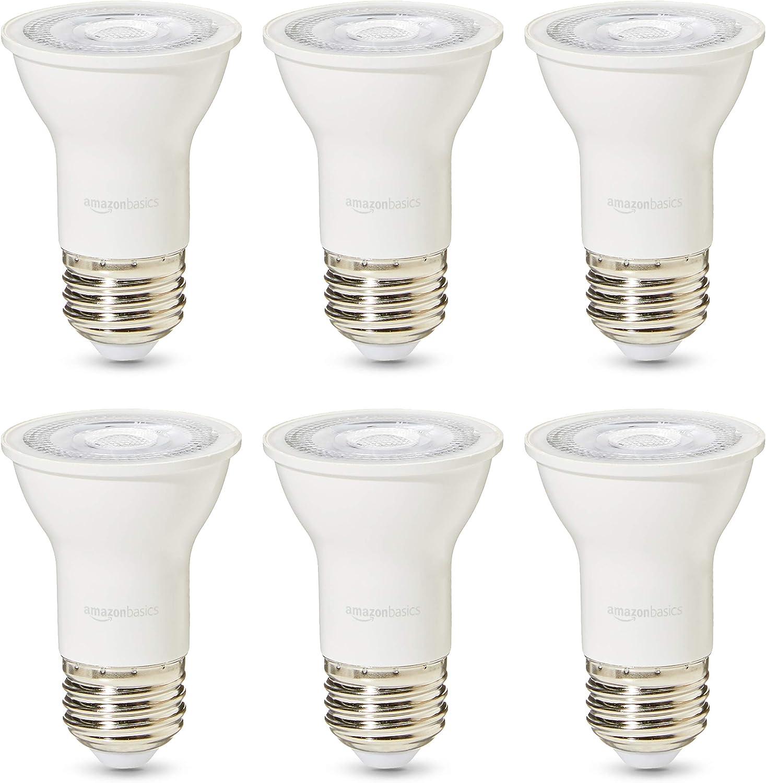 Basics 50 Watt 25,000 Hours Dimmable 525 Lumens LED Par16 Light Bulb Warm White Pack of 6 Renewed