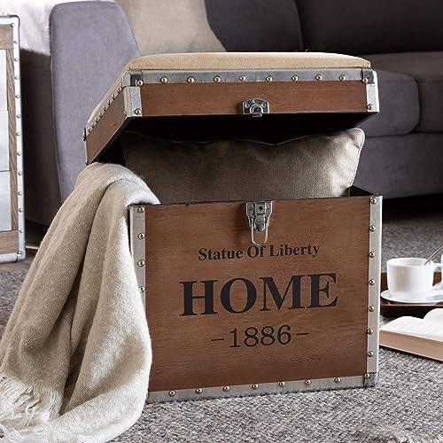 Baxton Studio Violetta Vintage Industrial Beige Fabric Upholstered Wood Storage Trunk Ottoman