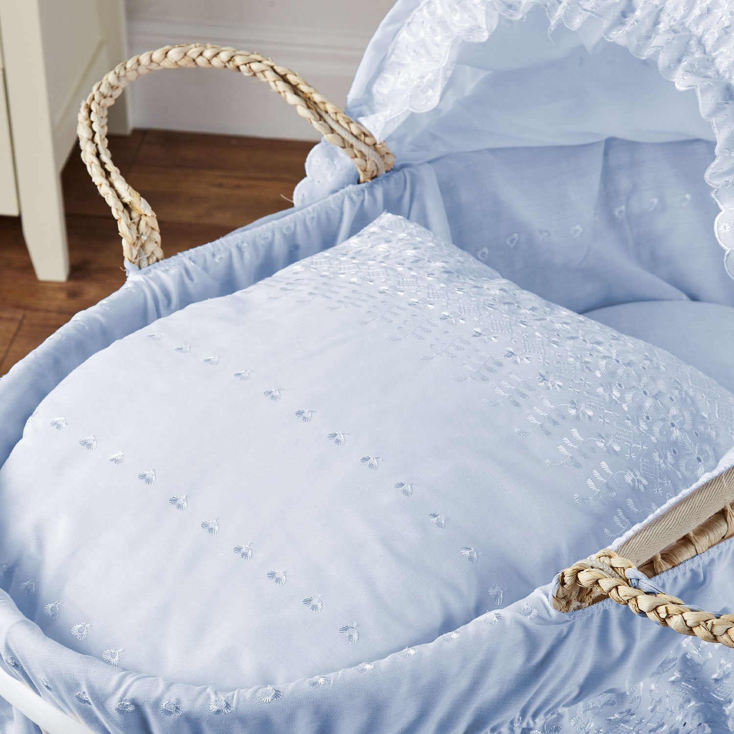 Broderie Anglaise Moses Basket Blue For-Your-Little-One