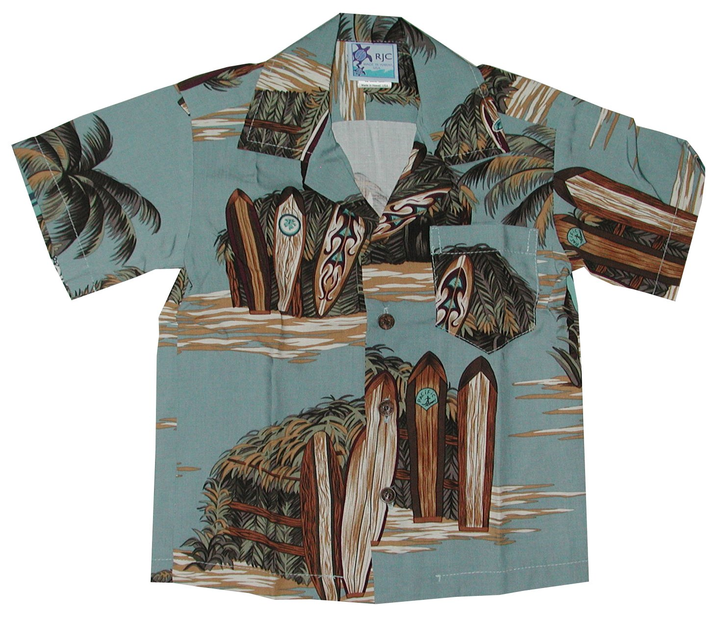 RJC Boys Surfboard Beach Shack Rayon Shirt Denim 6 by RJC (Image #1)
