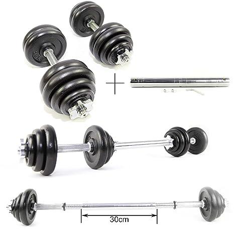 Juego de pesas de hierro fundido de 30 kg, mancuernas de ...