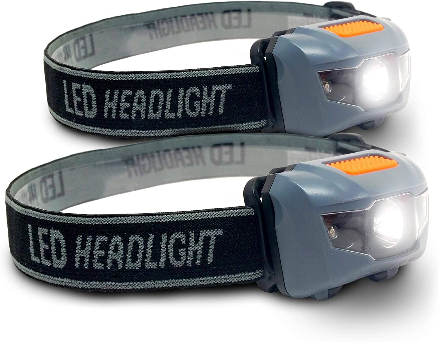 Bright Eyes 2-Pack Cree LED Headlamp White and Red Lights – Adjustable Running, Reading, Camping, Outdoor or Indoor Flashlight Headlights