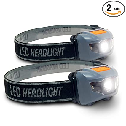Bright Eyes 2 PACK Cree LED Headlamp (White And Red Lights)   Adjustable
