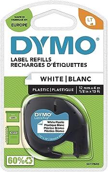Plastic white 12 mm x 4 m Thermoetikett für Dymo Brother