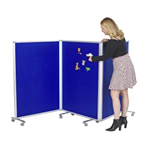 ECR4Kids Mobile Flannel Felt Room Divider and Partition, Double-Sided, Rolling Caster Wheels, Lesson Board, Mobile Wall for Classrooms and Offices, Collapses for Easy Storage, 3-Panel