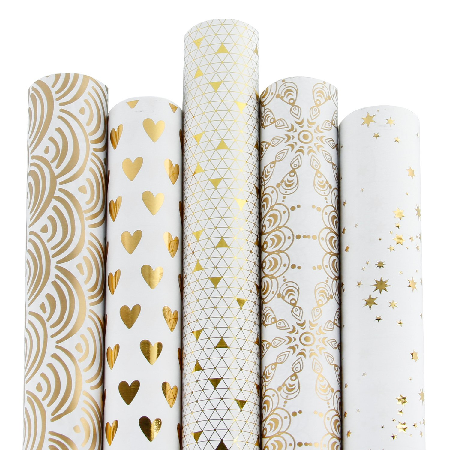 d4a51770eb8 RUSPEPA Gift Wrapping Paper Roll-White and Gold Foil Pattern for  Wedding,Birthdays, Valentines, Christmas-5 Roll-30Inch X 10Feet Per Roll