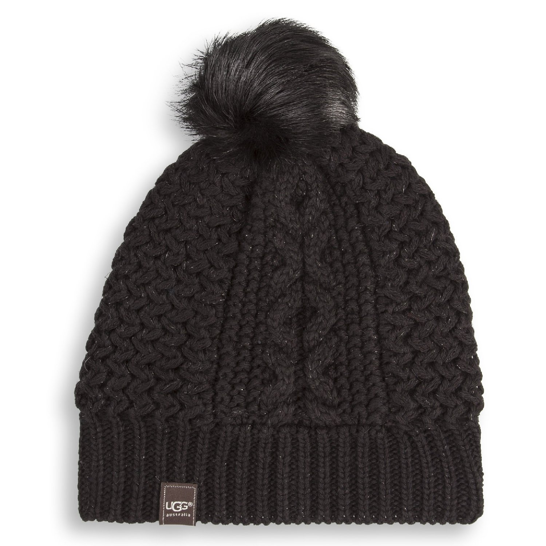 Amazon.com   UGG Women s Zermatt Cable Beanie w  Fur Pom - Peacoat   Beauty 08a9af0d76c