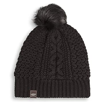 885e9ad78e9bb Amazon.com   UGG Women s Zermatt Cable Beanie w  Fur Pom - Peacoat ...
