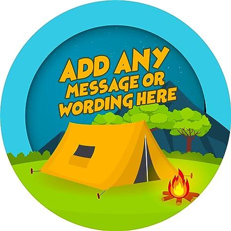 Camping tienda de campaña adhesivo etiquetas sellos de personalizado con imagen de alta resolución ideal para