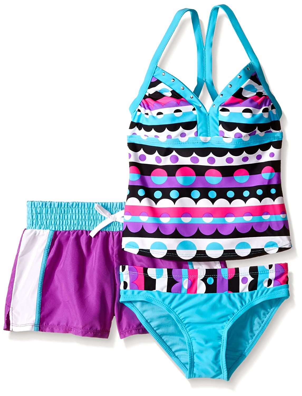 ZeroXposur Girls' Bubblicious Tankini Swimsuit with Short 8365