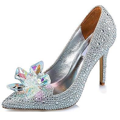 54351a6c256 SYJO Cinderella Princess Crystal Shoes Glass Flower Wedding Shoes Evening  Dress Heels Silver