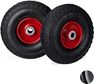 Relaxdays Hand Truck Wheels 3.00-4, Set of 2, Pneumatic, Up to 200 kg, 260 x 85 mm, Spare Tyres with Steel Rim, Black-Red