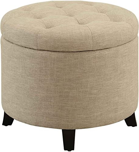 Convenience Concepts Designs4Comfort Round Ottoman, Tan Renewed