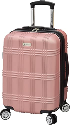 London Fog Kingsbury 21 Spinner Carry-on Luggage, Rose Gold, 21 Inch