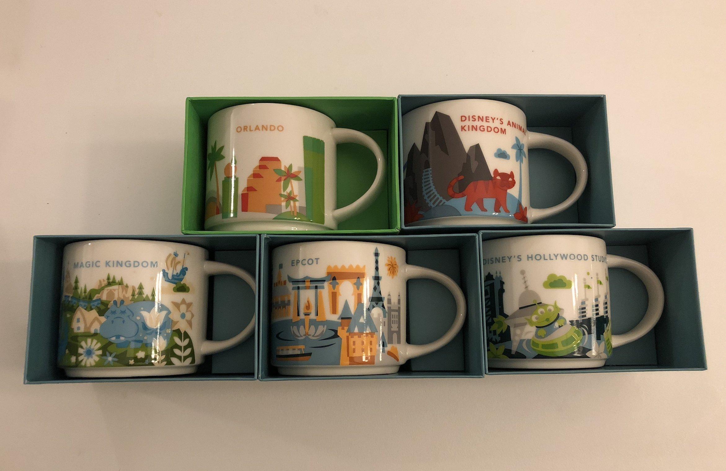 5 Mug Set: 2017 Animal Kingdom, Magic Kingdom, EPCOT, Disney's Hollywood Studios, Orlando Starbucks You Are Here 14 Oz. Mugs