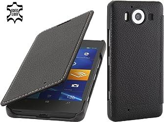 StilGut Book Type sans Clip, Housse en Cuir pour Microsoft Lumia 950 & Lumia 950 Double SIM, Noir