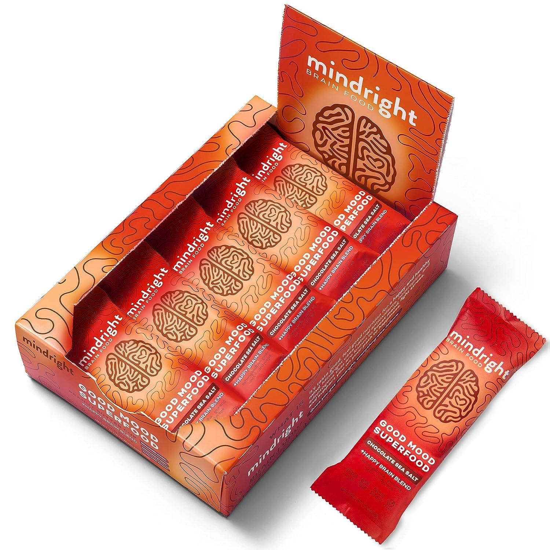 Mindright Nootropic-infused Superfood Protein Bar for Mood, Energy, & Focus, Pack of 12 - Dark Chocolate Sea Salt