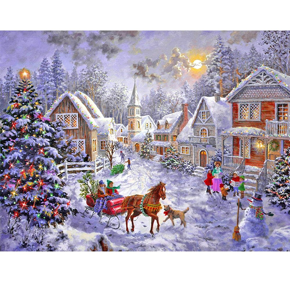 Blxecky 5D DIY Diamond Painting By Number Kits,Christmas hut(18X14inch/46X35CM)
