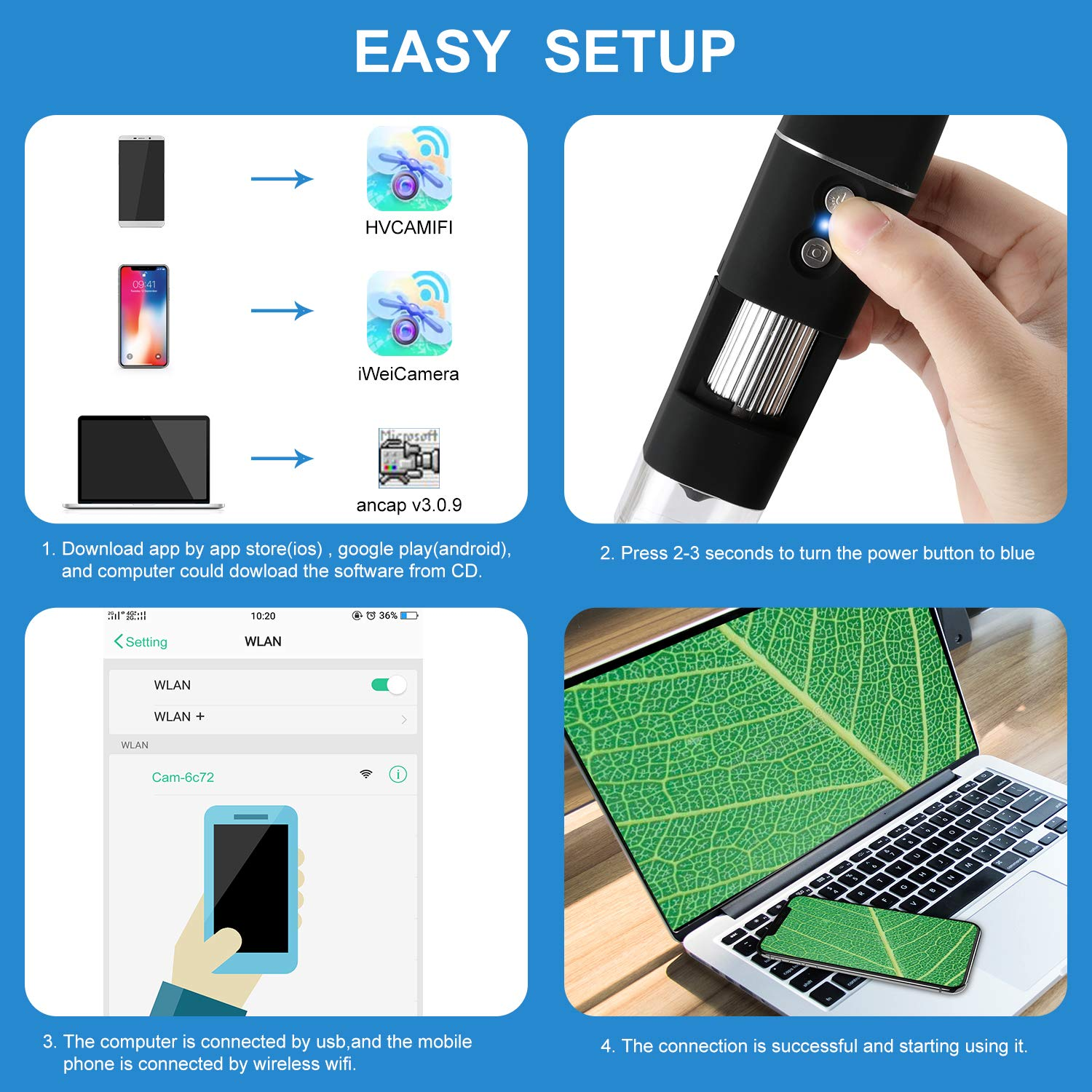 WiFi USB Microscope HINOY Wireless Digital Mini Microscope Camera 2MP 1080p HD 50 to 1000x Magnification Endoscope for iPhone Android Windows /& MAC Devices