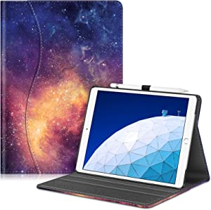 "Fintie Case for iPad Air (3rd Gen) 10.5"" 2019 / iPad Pro 10.5"" 2017- [Sleek Shield] Premium PU Leather Slim Fit Multi Angle Stand Cover with Pocket, Pencil Holder, Auto Wake/Sleep, Galaxy"