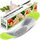 Garlic Press - Yarmoshi Solid Stainless Steel Garlic Rocker - Chopper Mincer - Perfect Ginger Crusher - Revolutionary Innovative Anti Slip SILICONE HANDLES for Best Grip! (Best tool for your Kitchen)