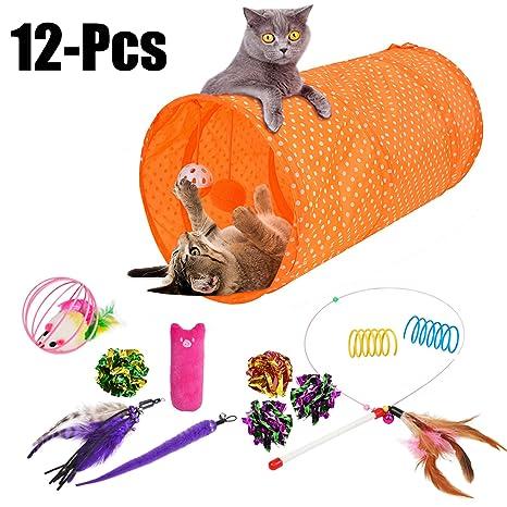 Legendog 12PCS Conjunto De Juguetes Para Gatos Juguete Interactivo De Los Gatos Juguete Plegable Del TúNel