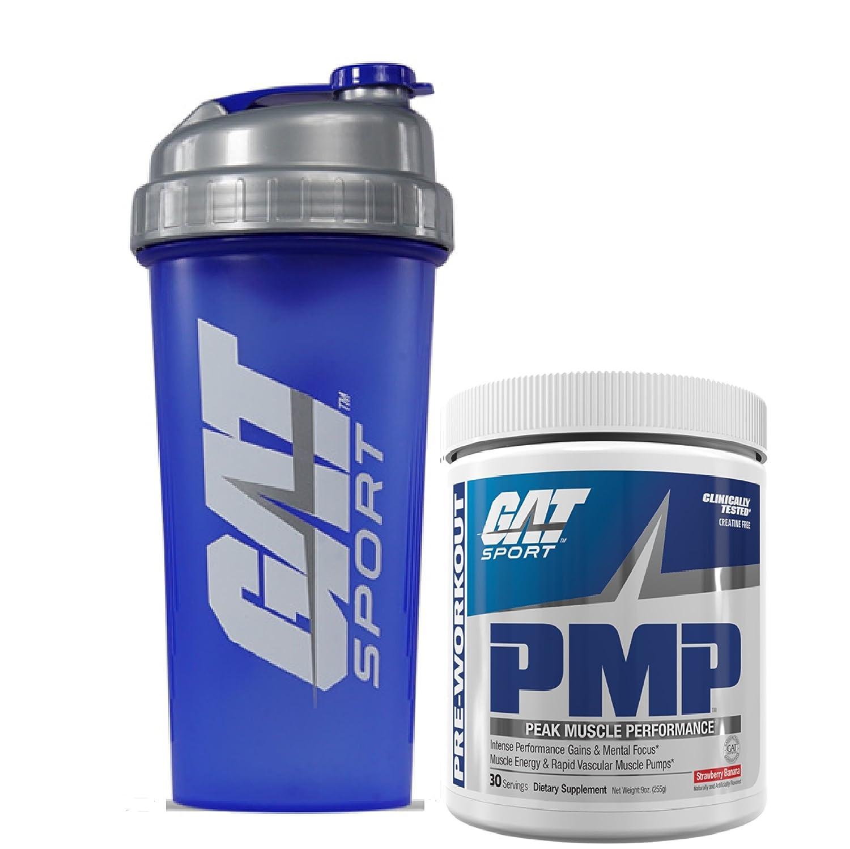 GAT PMP Peak Muscle Performance Pre-Workout Powder, 9oz 255g with Bonus GAT Shaker Bottle Strawberry Banana