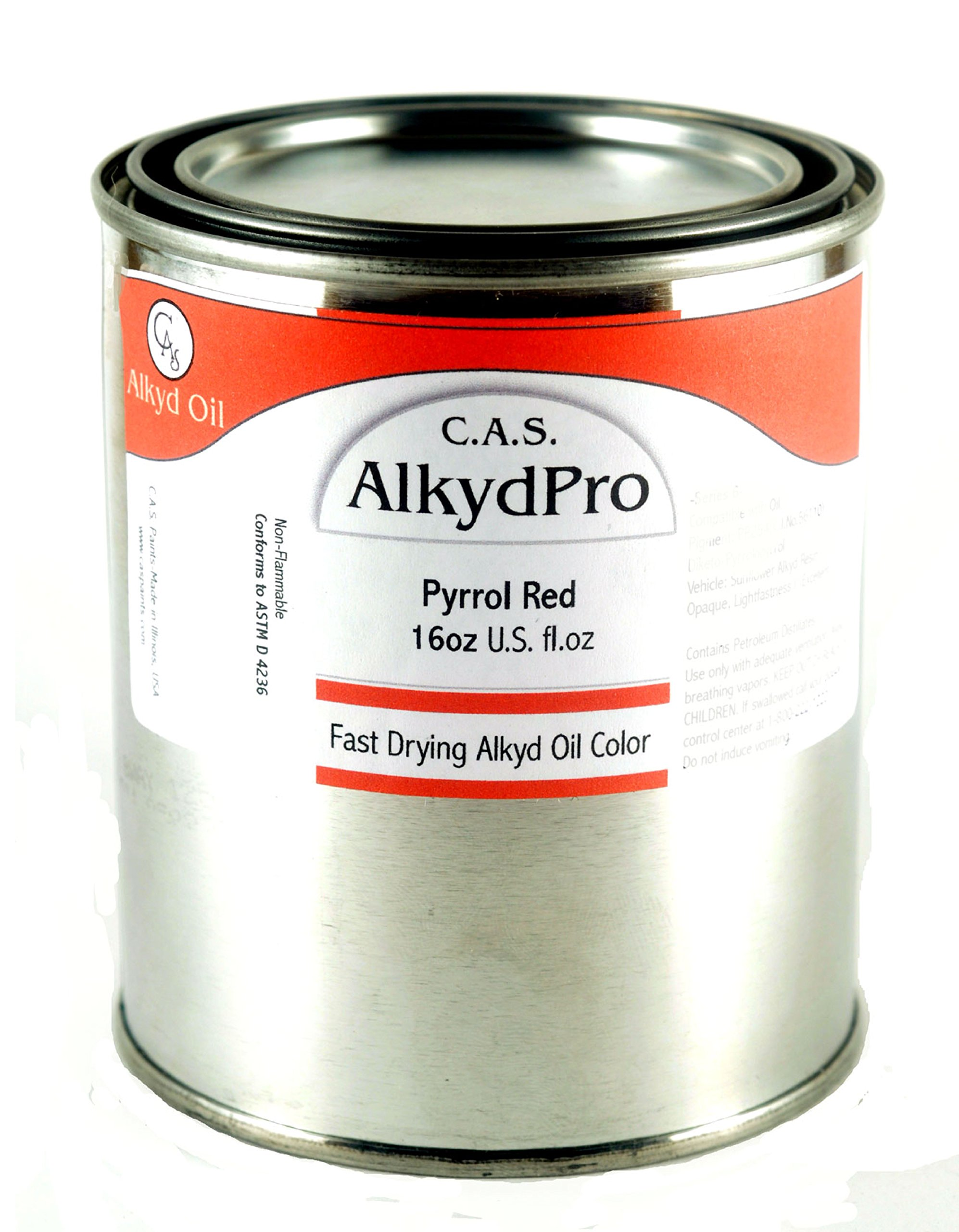 C.A.S. Paints AlkydPro Fast-Drying Oil Color Paint Can, 16-Ounce, Pyrrole Red
