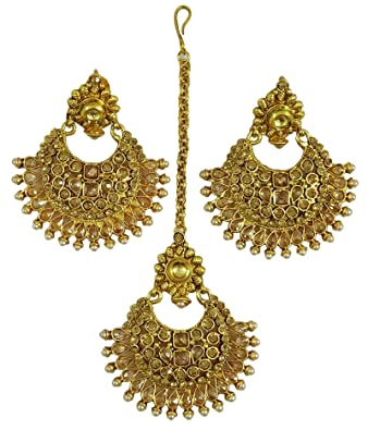 Matra Goldtone Ethnic Maang Tikka Earring Set Wedding Party Wear Jewellery TaBcWX