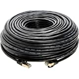 100FT S/FTP CAT7 Gold Plated Shielded Ethernet RJ45 Copper Cable 10 Gigabit Ethernet Network Patch Cord Cat7 (100ft, Black)