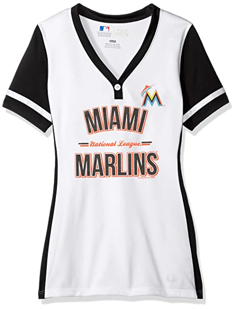 best sneakers ce0c8 fb9d5 VF LSG MLB Miami Marlins Women s Team Name Rugged Competitor Pull Over  Color Block Jersey,