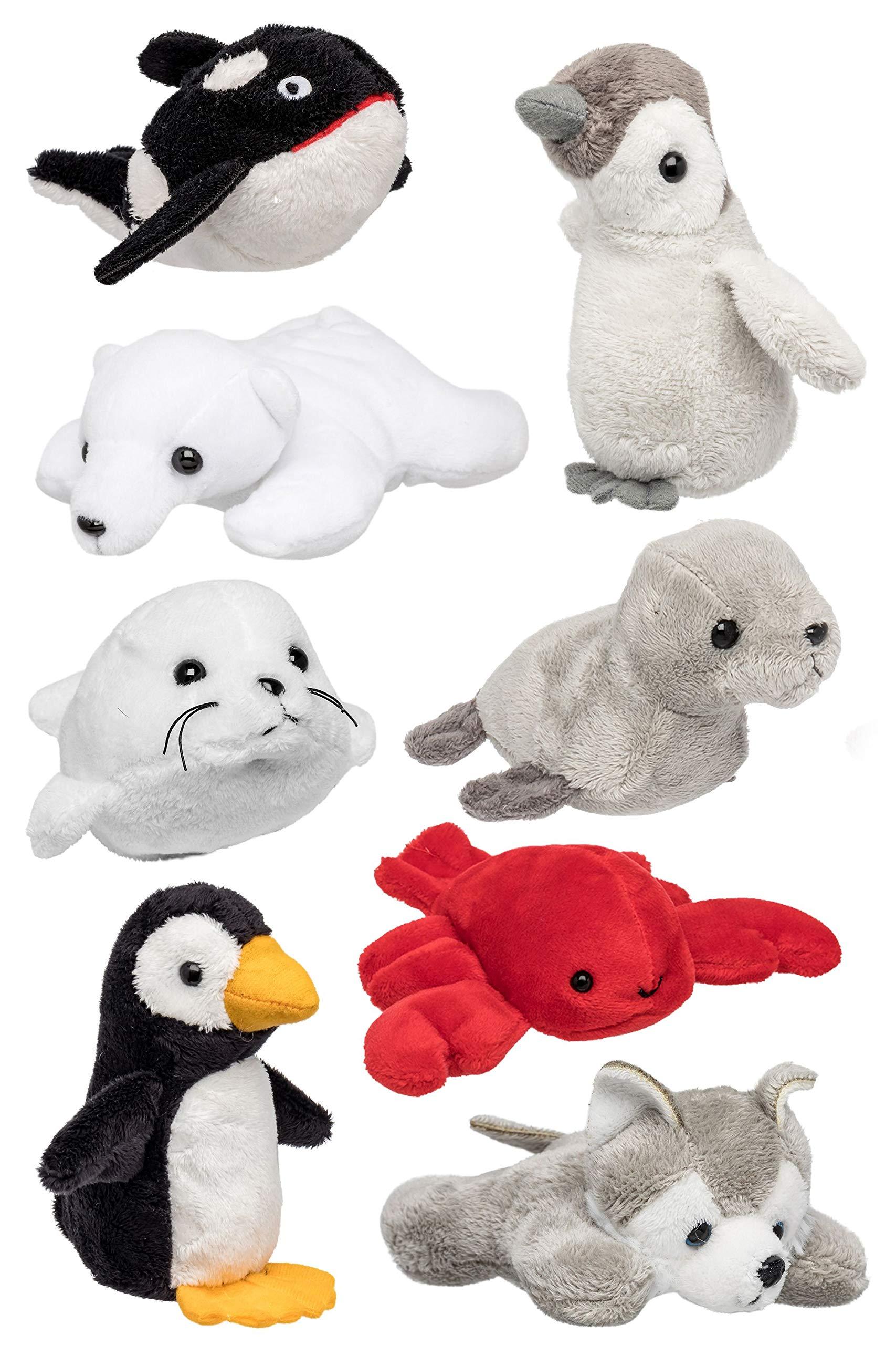 Wildlife Tree (8 Pack) Arctic Mini 4 Inch Small Stuffed Animals, Variety of Animal Toys by Wildlife Tree
