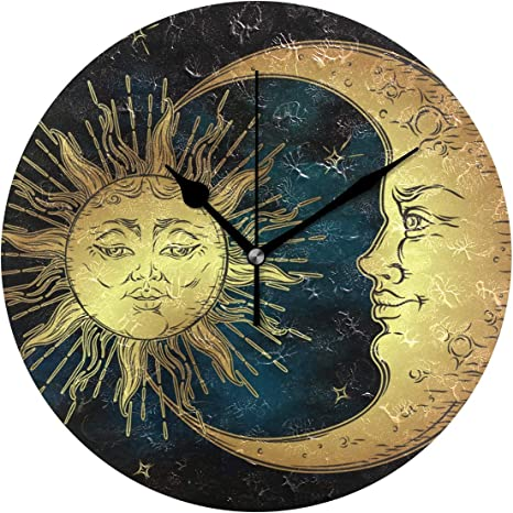 Ivers Art Sun And Moon Face Novelty Art Decorative Round Wall Clock Home Kitchen