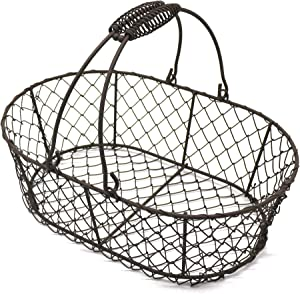 CVHOMEDECO. Oval Metal Wire Egg Basket Wire Fruit Basket with Handle Primitives Vintage Style Storage Basket. Rusty, 11 X 7-1/4 X 3-1/2 Inch