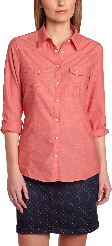 Wrangler - Camisa de Manga Larga para Mujer, Talla XS, Color Coral: Amazon.es: Ropa y accesorios