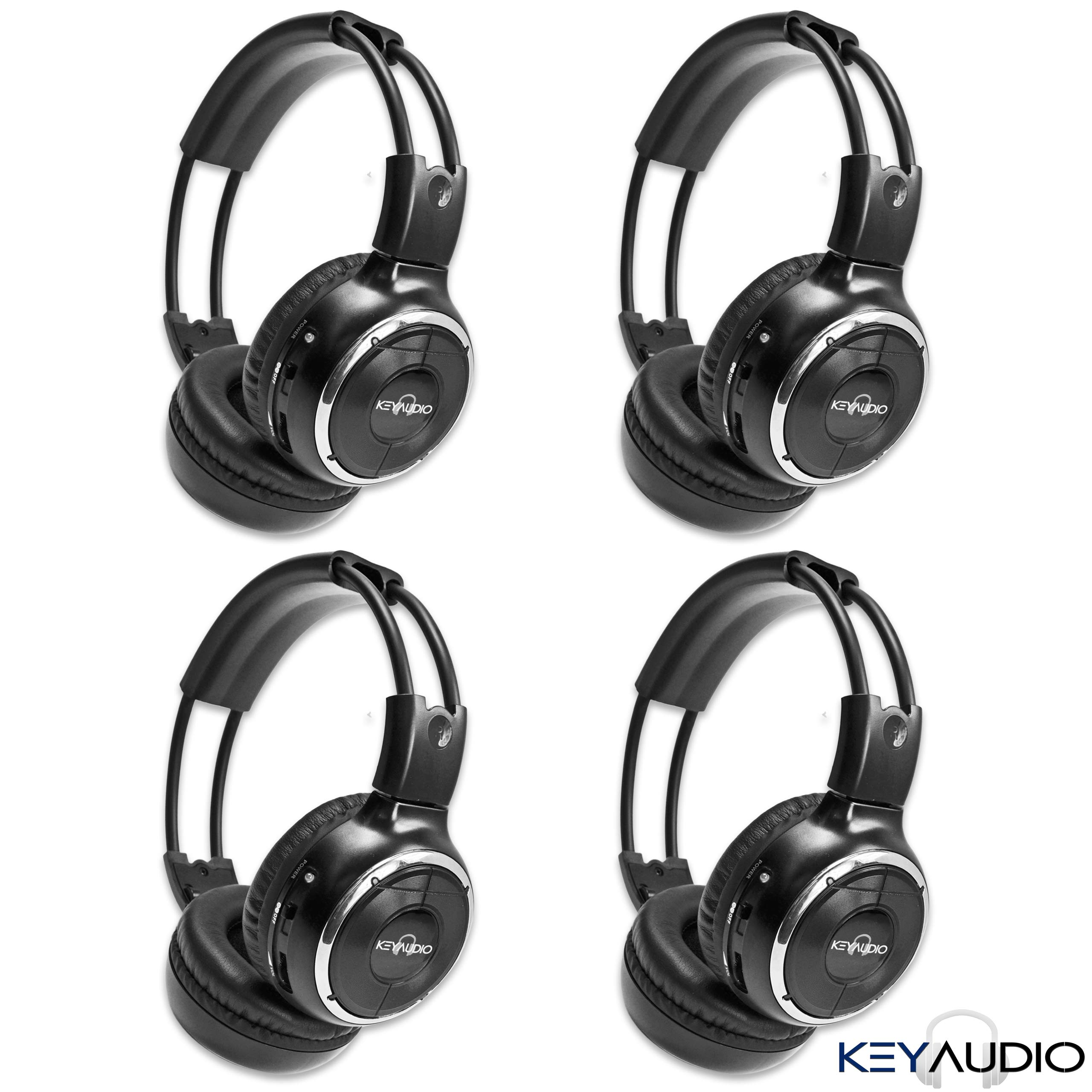 4 Pack of Wireless Infrared Two-Channel Foldable Headphones Universal Rear Entertainment System Infrared Headphones for in Car TV Video Audio Listening by Key Audio