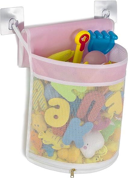 Wall Mounted Storage Basket 4 Ultra Strong Hooks Tenrai Mesh Bath Toy Organizer Toddler Shower Caddy for Bathroom Bath Toy Bin B, Y, 2S Bathtub Storage Bag Quick Drying Kids Toy Holder