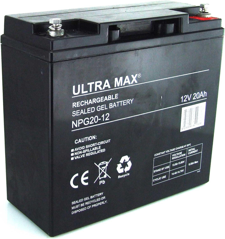 UltraMax npg20–12, de batería de Gel 12V 20AH horas (como 17Ah, 18Ah, 20, 19Ah & 22Ah) para Scooter para personas con movilidad reducida, silla de ruedas