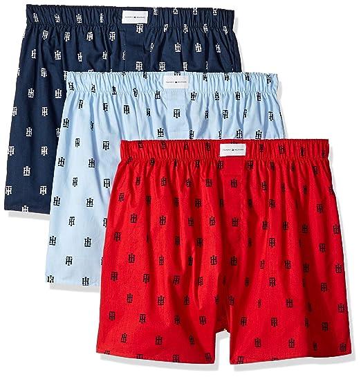 9598b9dc3d69 Tommy Hilfiger Men's 3 Pack Cotton Classics Woven Boxers, Juniper, Small:  Amazon.co.uk: Clothing